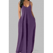 Lovely Leisure Pocket Patched Purple Maxi Plus Siz