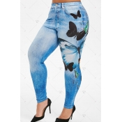 lovely Leisure Print Blue Plus Size Pants
