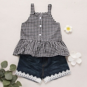 lovely Sweet Grid Print Black Girl Two-piece Short