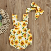 lovely Sweet Floral Print Yellow Girl One-piece Ro