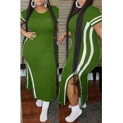 Lovely Casual Patchwork Army GreenAnkle Length Plus Size Dress