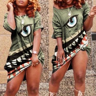 Lovely Casual O Neck Print Green Knee Length Dress