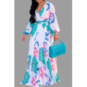 Lovely Bohemian Print White Maxi Plus Size Dress