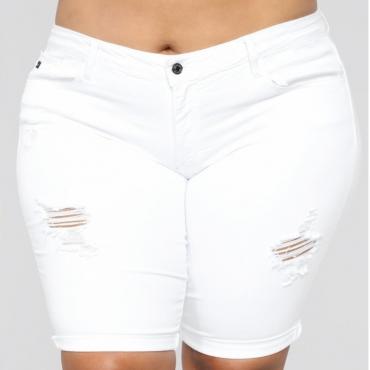 Lovely Stylish Broken Holes White Plus Size Shorts
