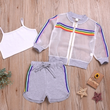 Lovely Trendy See-through Grey Girl Two-piece Shorts Set
