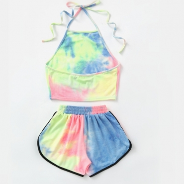 Lovely Sportswear Tie-dye MulticolorTwo-piece Shorts Set