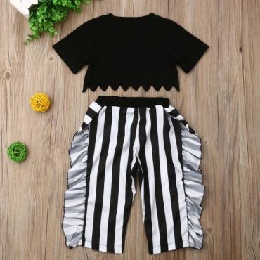 Lovely Trendy Striped Black Girl Two-piece Pants Set