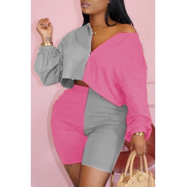 Lovely Casual Patchwork Pink Plus Size Two-piece Shorts Set