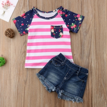 Lovely Casual Striped Rose Red Girl Two-piece Shorts Set