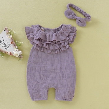 Lovely Sweet Layered Cascading Ruffle Light Purple Girl One-piece Jumpsuit