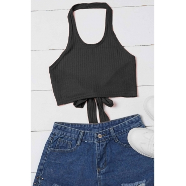 Lovely Casual Lace-up Black Camisole