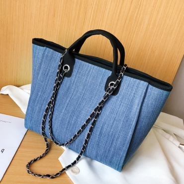 Lovely Casual Chain Strap Baby Blue Messenger Bag