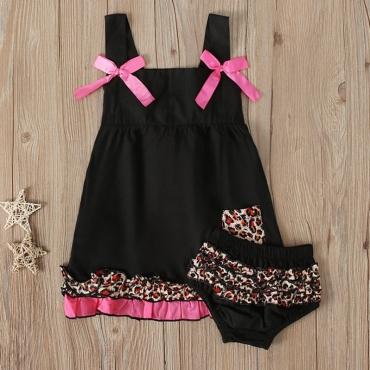 Lovely Stylish Patchwork Black Girl Two-piece Shorts Set