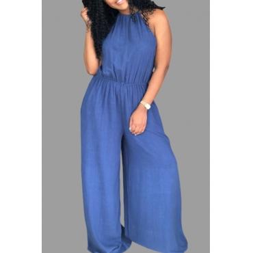 Lovely Stylish Loose Blue Plus Size One-piece Jumpsuit