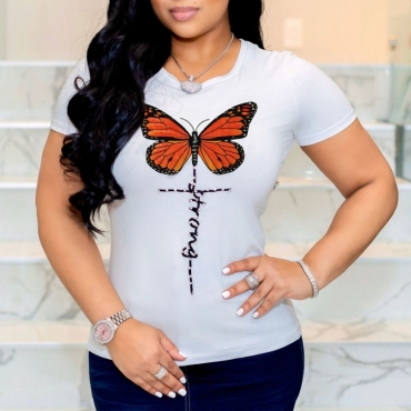 Lovely Leisure O Neck Butterfly Print White T-shirt