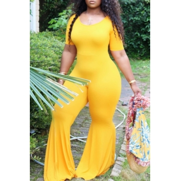 Lovely Leisure Skinny Yellow Plus Size One-piece Jumpsuit