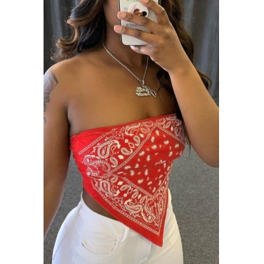 Lovely Sexy Print Red Camisole