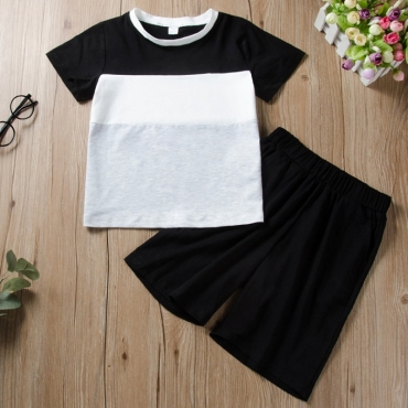 Lovely Casual Patchwork Black Boy Two-piece Shorts Set