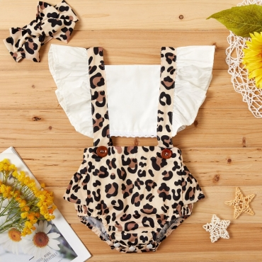 Lovely Stylish Leopard Print Girl One-piece Romper