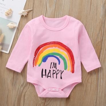 Lovely Trendy Print Pink Girl Bodysuit