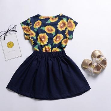 Lovely Sweet Print Patchwork Royalblue Girl Two-piece Skirt Set