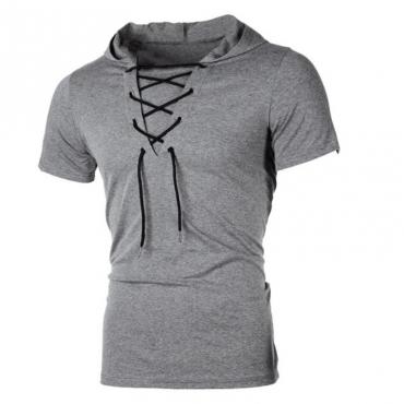 Lovely Casual Bandage Design Dark Grey Hoodie