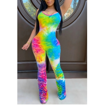 Lovely Sexy Tie-dye Multicolor One-piece Jumpsuit