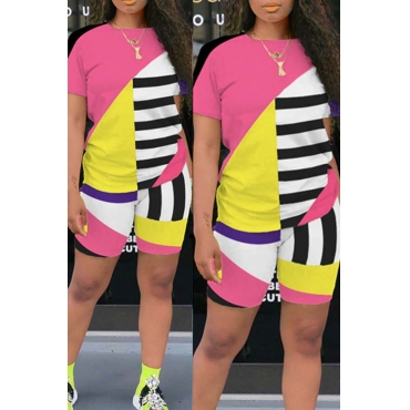 Lovely Leisure Color-lump Patchwork Pink Plus Size Two-piece Shorts Set