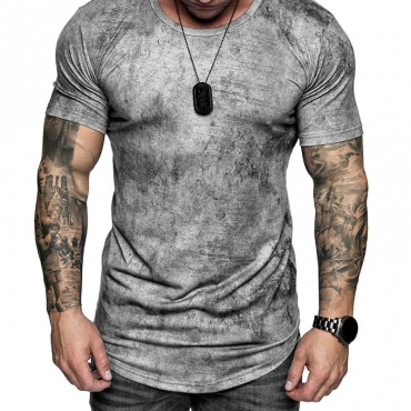 lovely Casual O Neck Basic Grey T-shirt