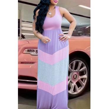 lovely Casual Color-lump Patchwork Multicolor Ankle Length Plus Size Dress