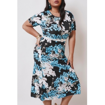 lovely Casual Floral Print Blue Mid Calf Plus Size Dress