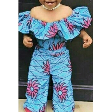 lovely Stylish Print Blue Girl One-piece Jumpsuit