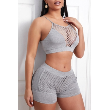 lovely Sportswear Hollow-out Grey Two-piece Shorts Set