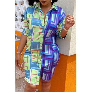 Lovely Trendy Print Blue Knee Length Dress