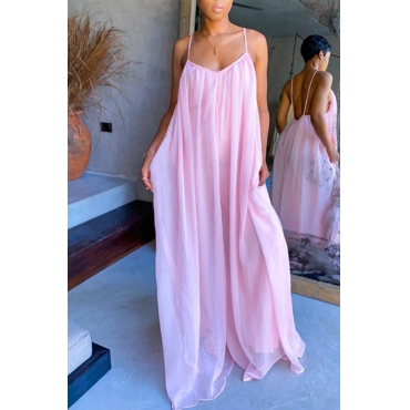 lovely Casual Loose Fold Design Pink Maxi Dress