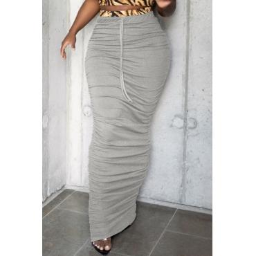 lovely Casual Fold Design Grey Skirt