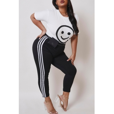 Lovely Casual Print White Plus Size Two-piece Pants Set