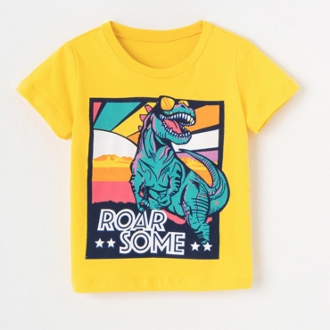 lovely Casual Cartoon Print Yellow Boy T-shirt