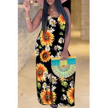 Lovely Bohemian Sunflower Print Black Maxi Dress