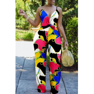Lovely Stylish Print Multicolor One-piece Jumpsuit