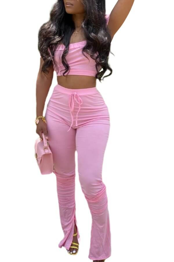 Lovely Casual Dew Shoulder Pink Two-piece Pants Set