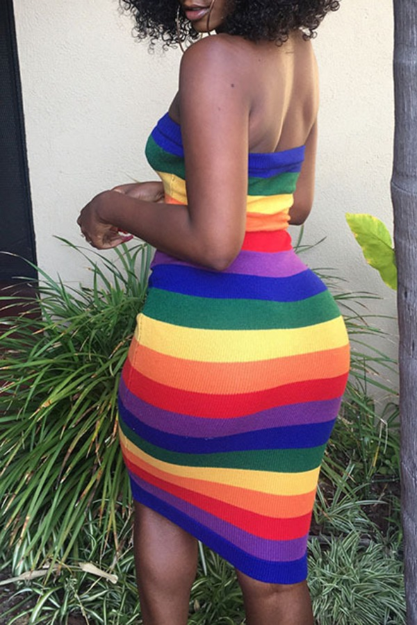 lovely Casual Off The Shoulder Striped Multicolor Knee Length Dress