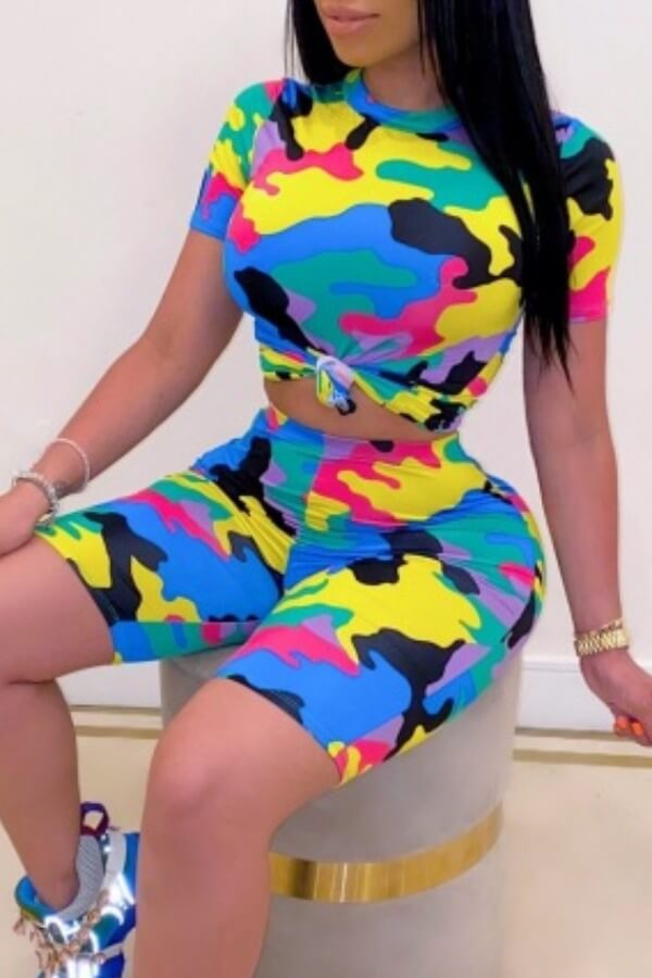 Lovely Casual O Neck Camo Print Two-piece Shorts Set