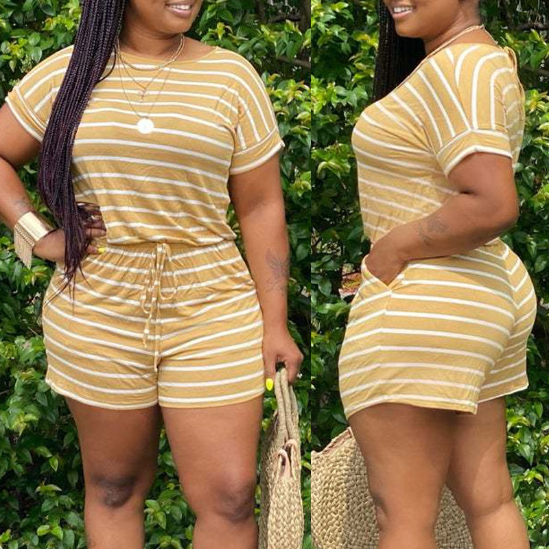 Rompers Lovely Casual O Neck Striped Print Yellow One-piece Romper фото