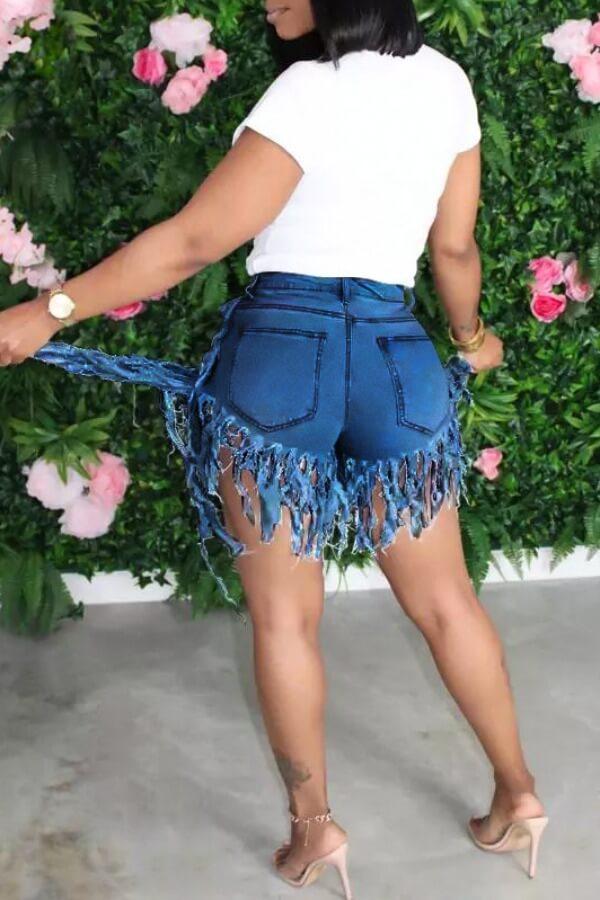LW BASIC Plus Size Tassel Design Denim Shorts