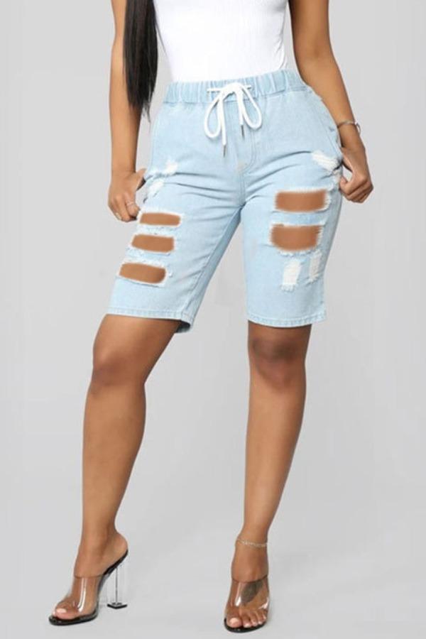lovely Casual Broken Holes Babyblue Denim Shorts