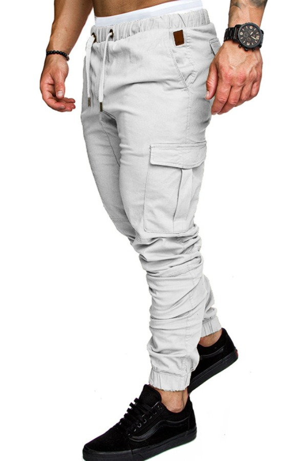 Lovely Casual Drawstring White Pants