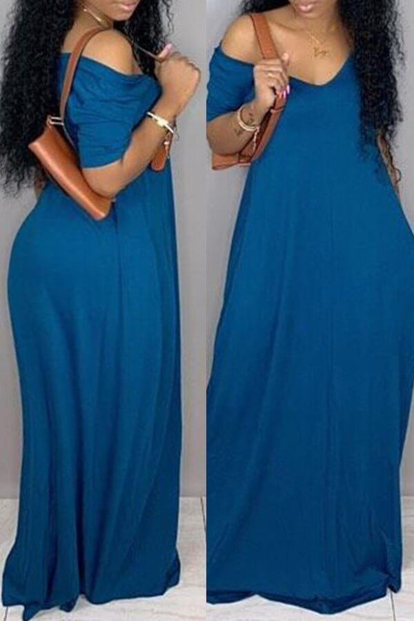 Lovely Casual V Neck Loose Blue Maxi Plus Size Dress