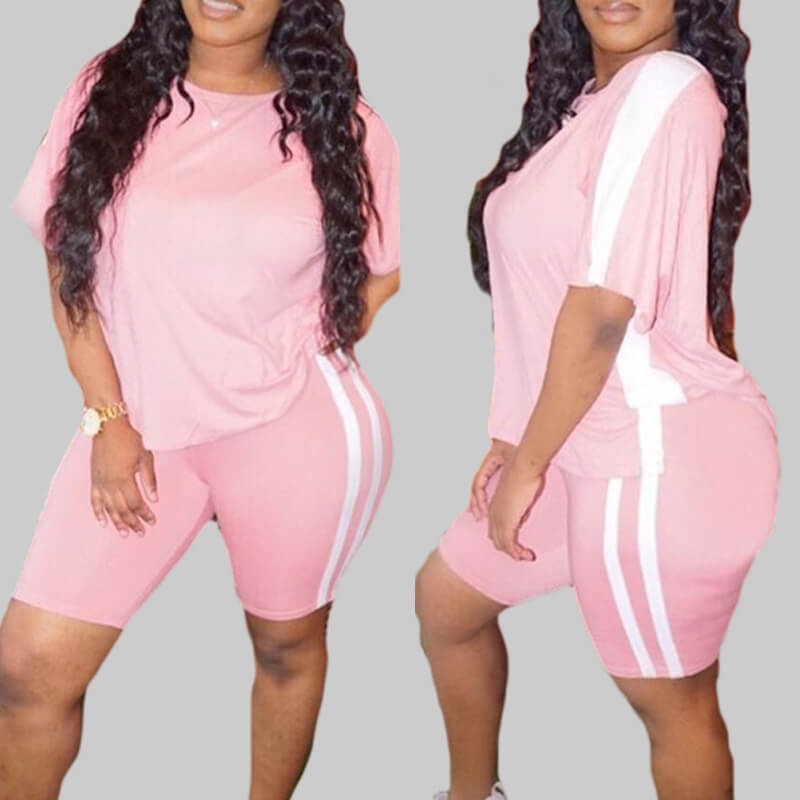 Lovely Sportswear Patchwork Pink Plus Size Two-piece Shorts Set