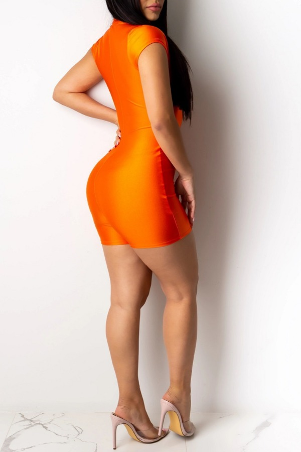 lovely Casual Letter Print Orange One-piece Romper